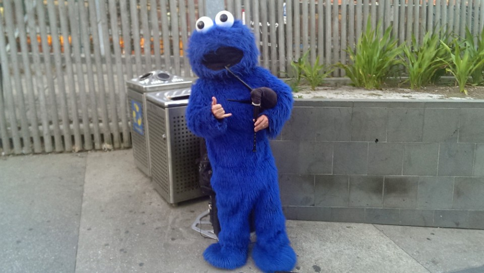 Just a guy dressed as Cookie Monster playing the bagpipes